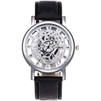 Accurate Time Keeping Luxury Watches Man Women Cool Design Hollow Out Transparent Dial PU Leather Wrist Watch Gift - Black White