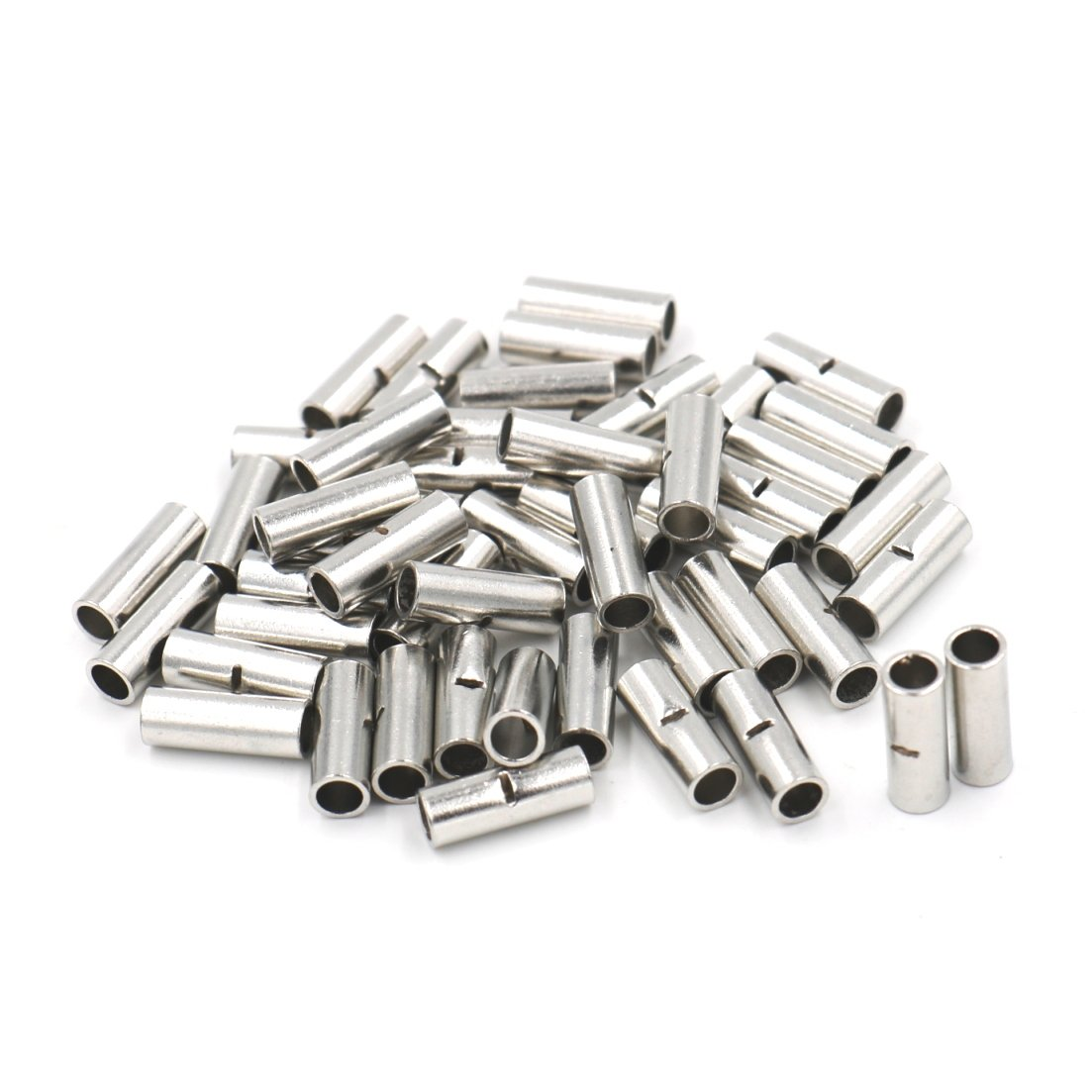 WeiMeet 300pcs Non-Insulated Butt Connectors 22-18AWG 16-14AWG 12-10AWG BM Series Non-Insulated Tinned Copper Wire Ferrule Cable Crimp Terminal Kit for Electrical Splice DIY