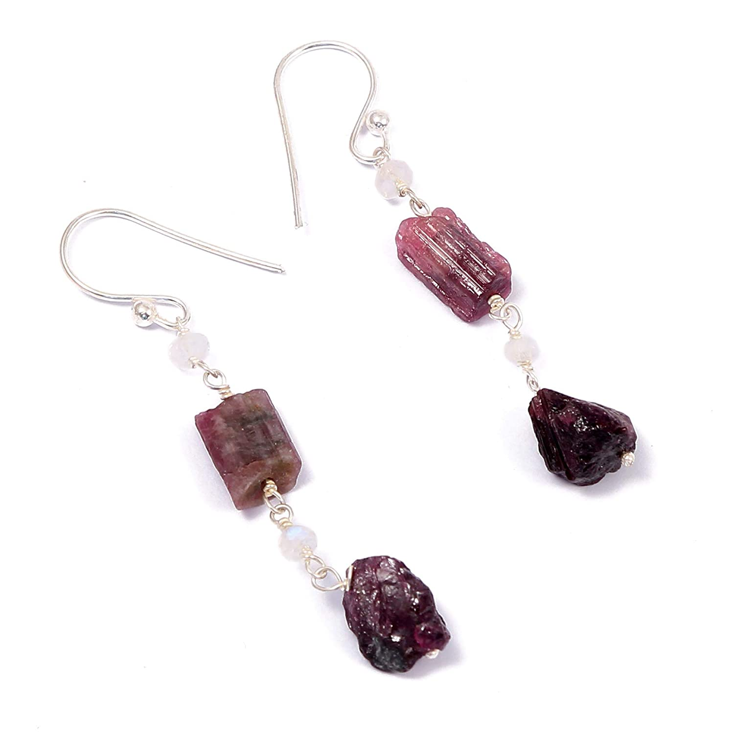Handcrafted Designer Charm Jewelry ❤️❤️100/% Natural Tourmaline Rough with Moonstone Rainbow Beads ️Dangle Drop Earrings❤️❤️ 925 Sterling Silver Multicolor Color Gift for Women Girls Ladies