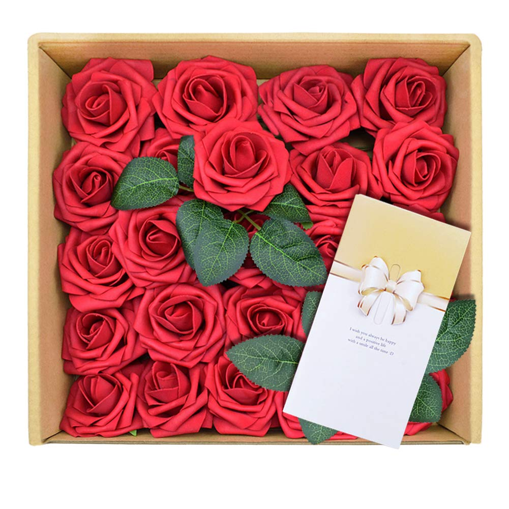 Red Artificial Flowers With Greeting Card Fake Foam Roses For Wedding Bridesmaids Rose Bouquets DIY Floral Home Decoration In Baby Shower Birthday Party