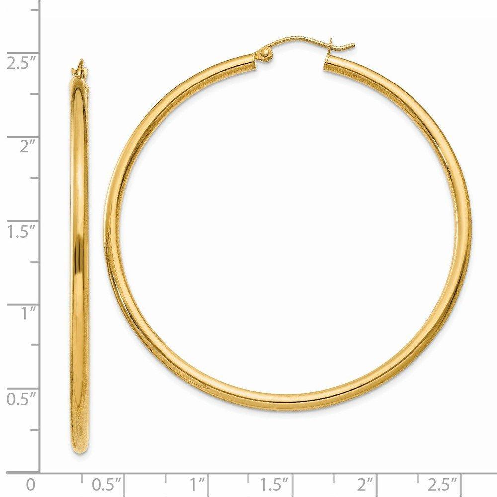 14K Yellow Gold 2.5mm Width High Polished Hoop Earrings 1 inch