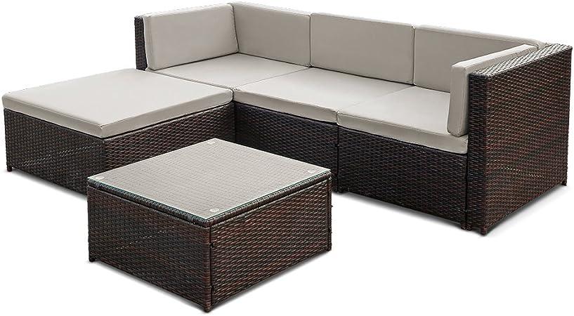 iKayaa Set Mueble de Jardín de Poli Ratán Conjunto de Muebles con Cojines para Patio Color Opcional: Amazon.es: Hogar