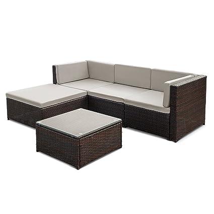 iKayaa Set Mueble de Jardín de Poli Ratán Conjunto de Muebles con ...