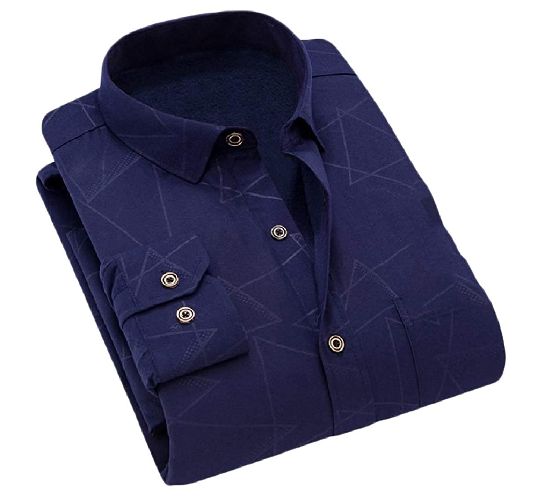 SportsX Men Warm Business Plus Size Printing Spread Collar Woven Shirt