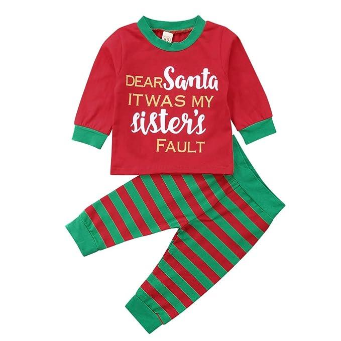 a1a962545 Pudcoco Conjunto de Pijama de Navidad para niños y niñas con Estampado de  Letras de Manga