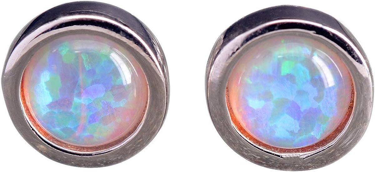 NicoWerk SOS295 - Pendientes de plata de ley 925 con ópalo, redondos, color blanco con piedra preciosa