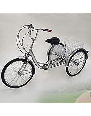 """OU BEST CHOOSE 24"""" 3 Ruote Triciclo per Adulti con Lampada 6 velocità Biciclette, Carrello della Spesa Triciclo Triciclo Pedale Bici per Biciclette, per Lo Shopping all'aperto Picnic Sport"""