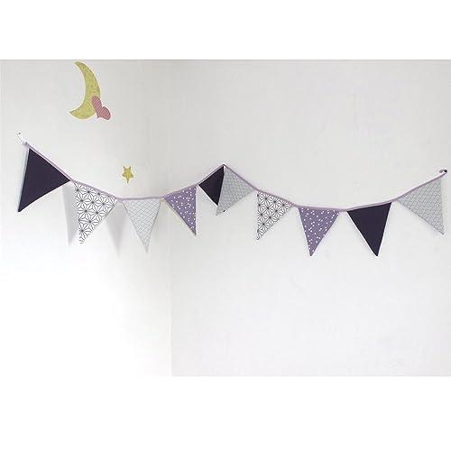 guirlande de 10 fanions en tissu, décoration chambre de bébé: Amazon ...