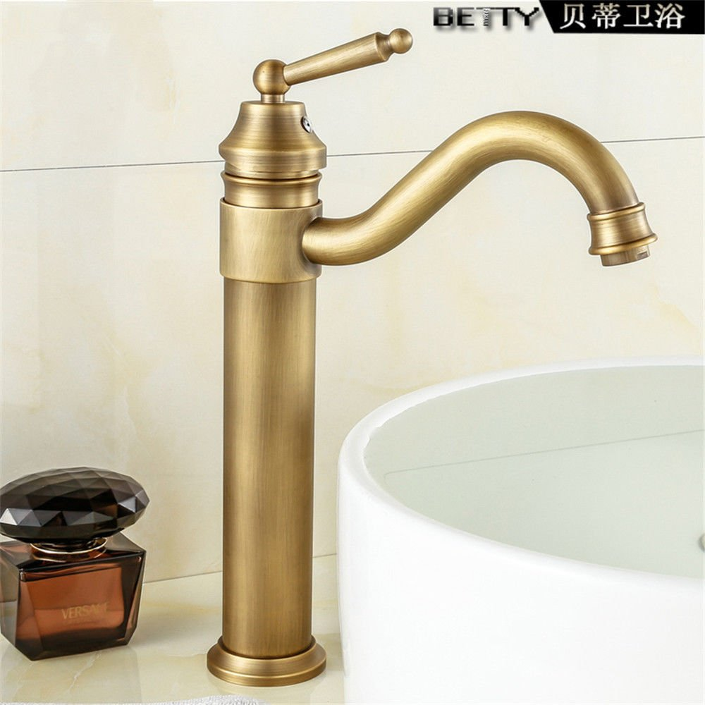 Hlluya Professional Sink Mixer Tap Kitchen Faucet Antique faucets full copper basin surface redating basin cold water tap high