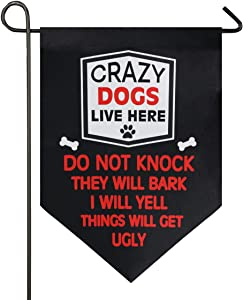 Monaca Crazy Dogs Live Here Decorations Welcome Garden Flag Double Sided Farm Decor Yard Flag 12x18.5 inch
