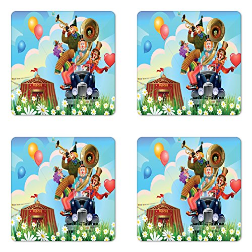 - Ambesonne Circus Coaster Set of Four, Clowns Vintage Car Circus Big top Daisies Flowers Heart in Meadow Fun Design Art, Square Hardboard Gloss Coasters for Drinks, Multicolor