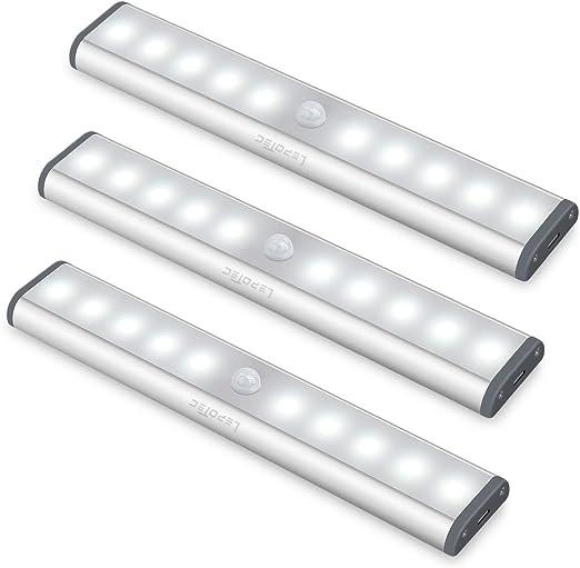 3 artículos Kit de luz de sensor de movimiento, luz de armario inalámbrica Lámpara de armario