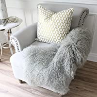 Genuine light grey Mongolian Sheepskin lambskin Fur Hide pelt throw rug