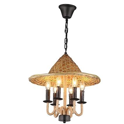 Lámparas de hierro de la vendimia, industria antigua 6 lámpara de cáñamo LED decoración de