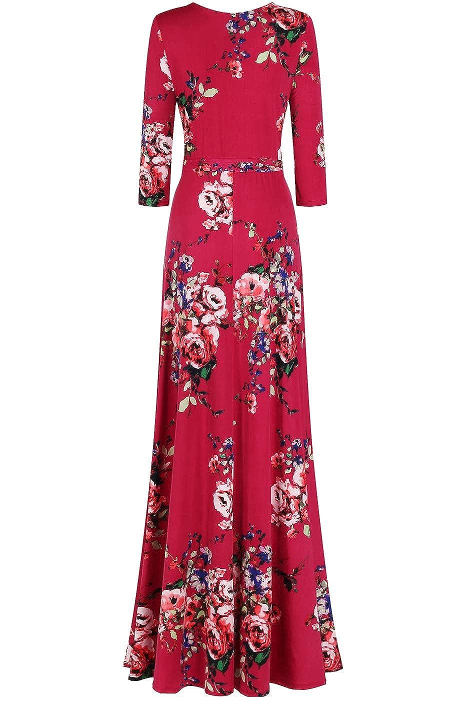 5c16f6e0b59a Amazon.com  Bon Rosy Women s  MadeInUSA 3 4 Sleeve V-Neck Printed Maxi Wrap  Dress  Clothing