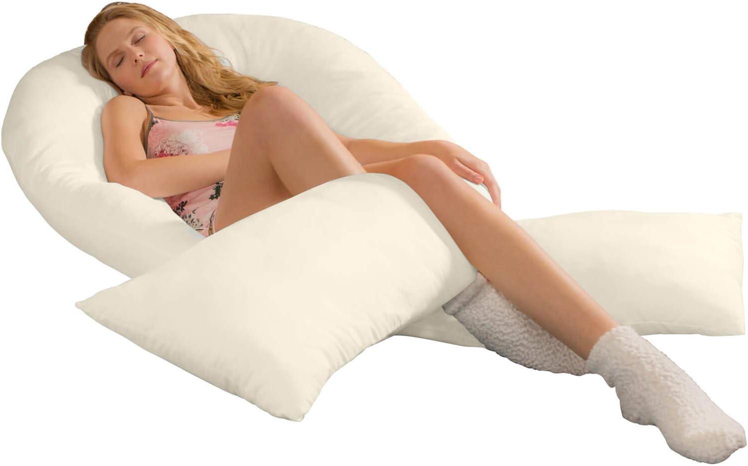 Traumreiter Jumbo XXL Seitenschl/äferkissen mit Bezug Natur I Schwangerschaftskissen U Form Full Body Pillow Seitenschl/äfer Kissen f/ür Schwangere Lagerungskissen