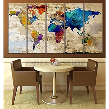 Amazon world map canvas print contemporary 5 panel colorful world map canvas print contemporary 5 panel colorful abstract rainbow colors large wall art gumiabroncs Image collections