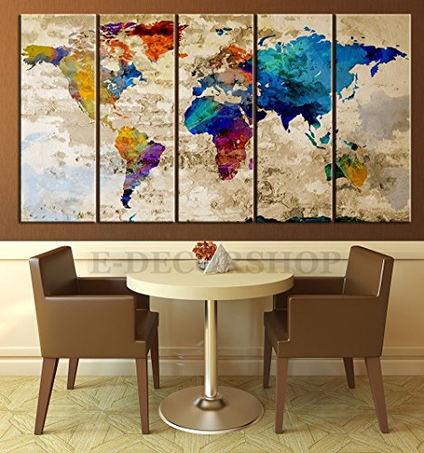 YEHO Art Gallery Painting World Map Canvas Print - Contemporary 5 Panel Colorful Abstract Rainbow Colors Large Wall Art (60x32 inches , framed)