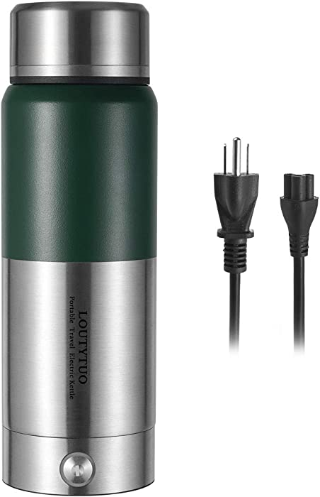 Loutytuo 2 in 1 300ml Portable Travel Electric Kettle + Stainless Steel Vacuum Insulated Bottle 12 Hours Hot & Cold Drinks (Microboil, Double Wall, BPA Free, Leak Proof) (Green)