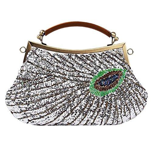 silver à party antique cm de soirée sac x dinner clutch pour femmes 28 20 peacock perlé sacs main sequin qUCz7nzT