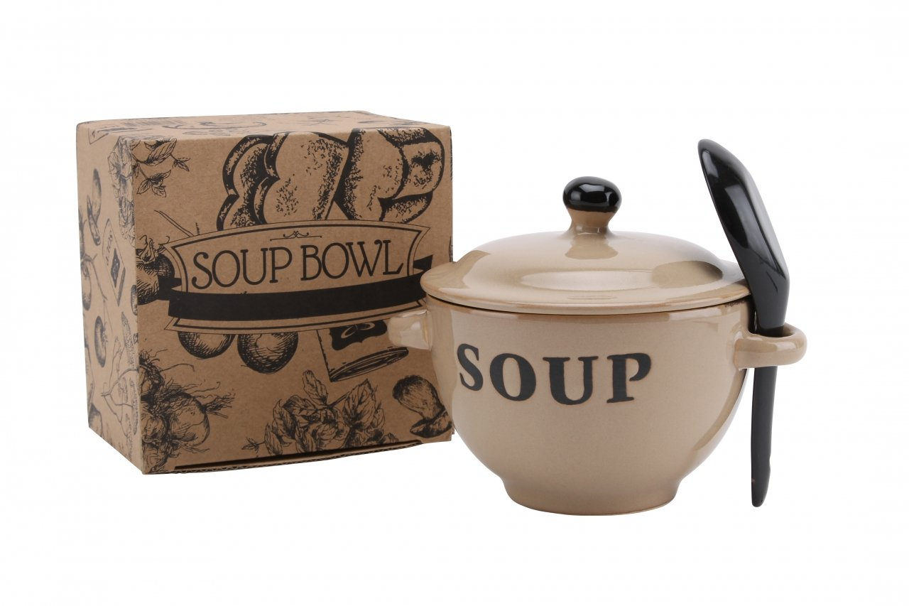 Ceramic Soup Bowl with Lid and Spoon in Gift Box Blue Grey Cream or White (Country Blue) CGB