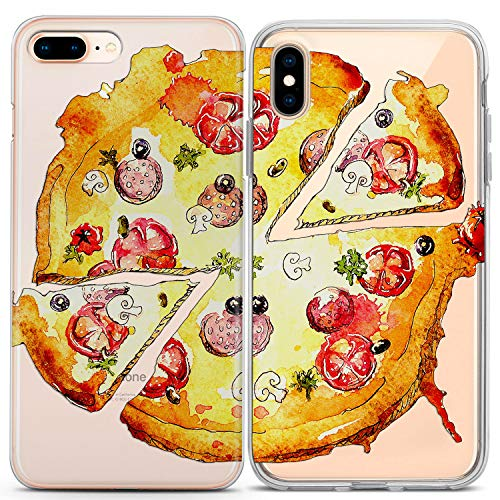 Lex Altern Couple iPhone Case Xs Max X Xr 10 8 Plus 7 6s 6 SE 5s 5 TPU Clear Pizza Apple Soulmate Bro Present BFF Phone Cover Slice Food Print Boyfriend Protective Matching Cool Soft