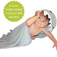 Toalla De Bambú Con Capucha De Tiburón | 100% Fibra De Bambú Extra Suave y Absorbente | Tamaño Grande para Bebés y Niños