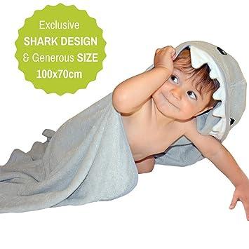 Toalla De Bambú Con Capucha De Tiburón | 100% Fibra De Bambú Extra Suave y Absorbente | Tamaño Grande para Bebés y Niños: Amazon.es: Bebé