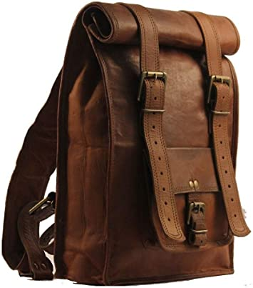 "Men/'s Genuine Leather Large Backpack Hiking 15/"" Laptop Messenger Bag Heavy Duty"