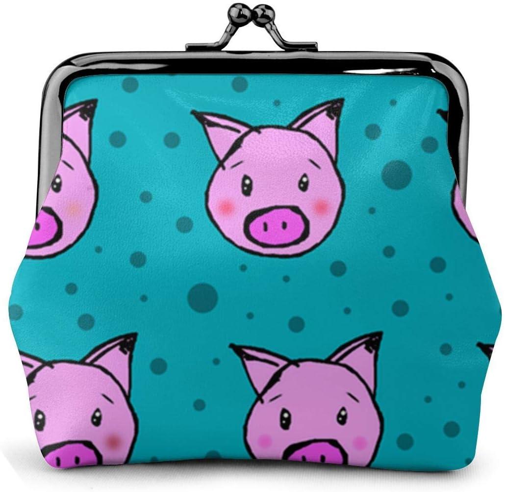 Cartera de Cuero Cerdos y Lunares Hebilla Monederos Monedero Vintage Bolso de Cambio con Cerradura de Beso