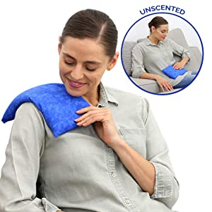 Basic Herb Heating Pad - Natural Tension, Stress, Pain Relief - Microwavable & Reusable by Nature Creation (Blue Marble Unscented)