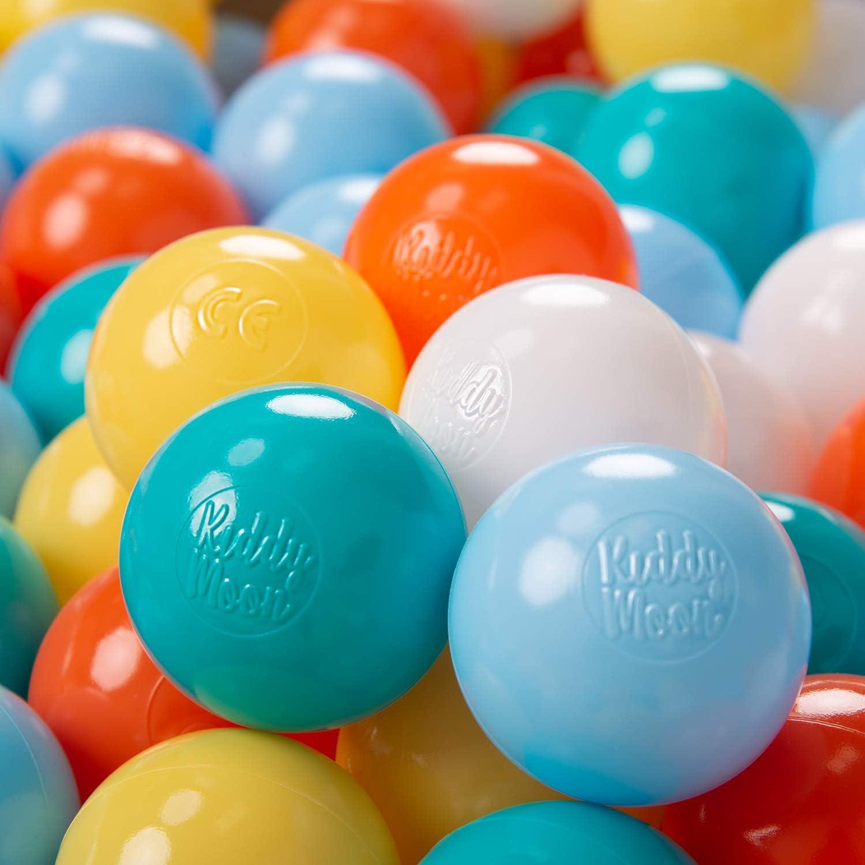 KiddyMoon 100 ∅ 6Cm Bolas Colores De Plástico para Piscina Certificadas para Niños, Blanco/Amarillo/Naranja/Azul Celeste/Turquesa