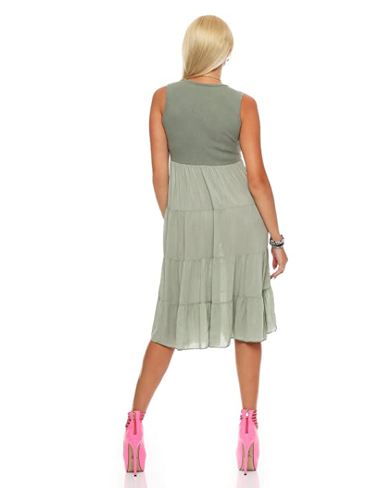 ZARRMEXX Fashion Vestido largo hasta la rodilla larga playa imperio vestido volante verano de las señoras: Amazon.es: Ropa y accesorios
