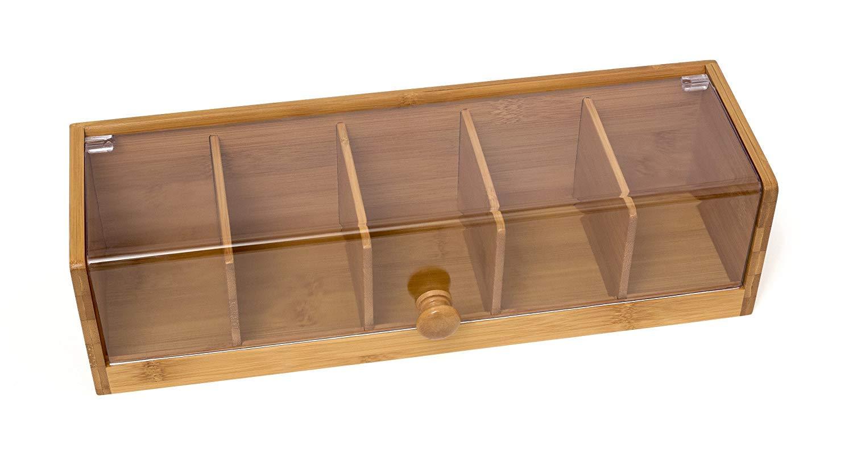 Lipper International 8187 Bamboo Wood and Acrylic Tea Box with 5 Sections, 14'' x 5'' x 3-3/4'' by Lipper International