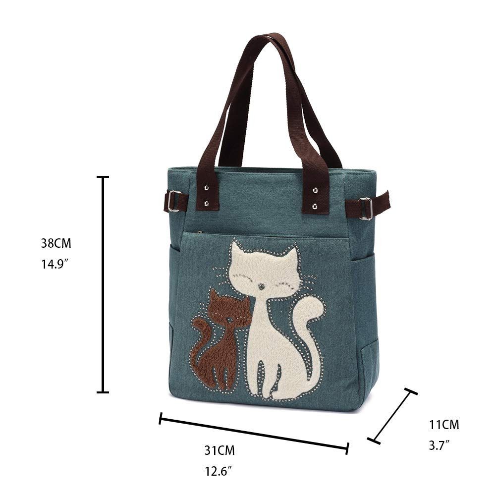 cc8137e4e Amazon.com: KAUKKO Casual Cute Two Cats Embroidered Canvas Tote Bag  Shoulder Handbag for Women Army Green: Clothing