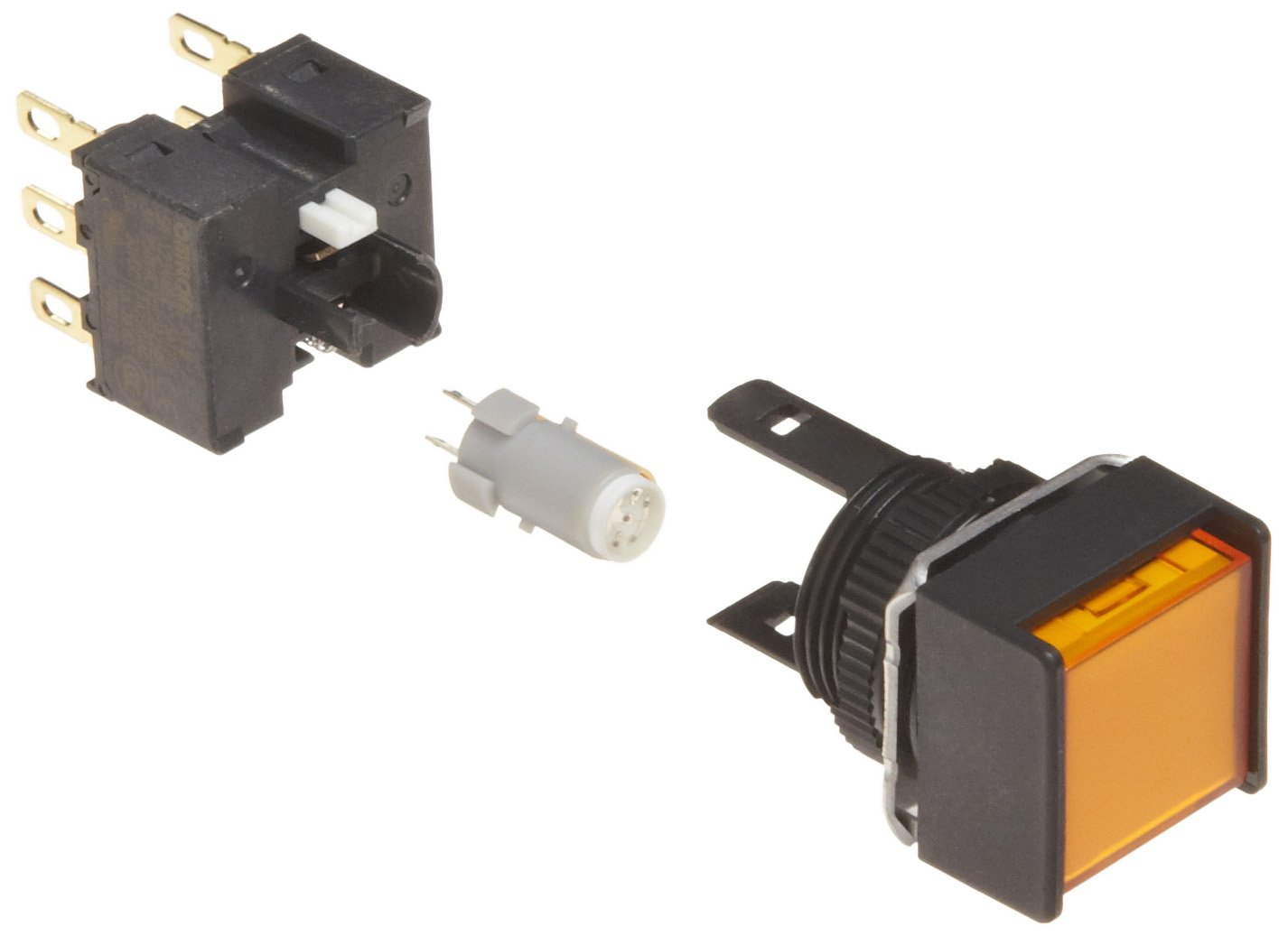 Omron A165L-AYA-24D-2 Two Way Guard Type Pushbutton and Switch, Solder Terminal, IP65 Oil-Resistant, 16mm Mounting Aperture, LED Lighted, Alternate Operation, Square, Yellow, 24 VDC Rated Voltage, Double Pole Double Throw Contacts