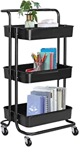 Mericodan 3-Tier Rolling Utility Cart with Handle, Storage Organizer Cart with 8 Hooks Roller Casters Easy Assembly, Trolley Cart for Kitchen, Bathroom, Office, Coffee Bar, Room (Black)