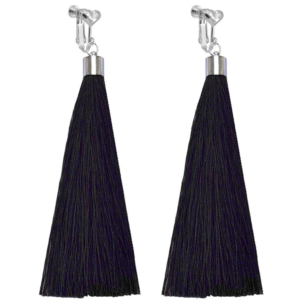 Bohemian Clip on Earrings Heart Clips Black Long Silk Fringe Thread Tassel Dangle Wedding Prom Earring