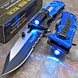 Sporting Goods : Tac-Force Blue Police Assisted Open LED Tactical Rescue Pocket Knife