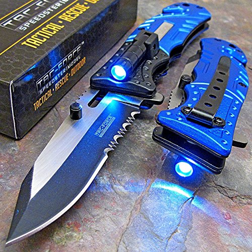 Pocket Knife Knives (Tac-Force Blue Police Assisted Open LED Tactical Rescue Pocket Knife)