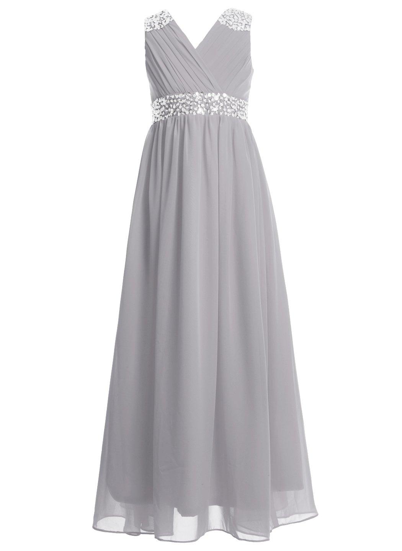 FAIRY COUPLE Girl's Embellished V-Neck Long Flower Girl Dress For Wedding K0156 10 Grey