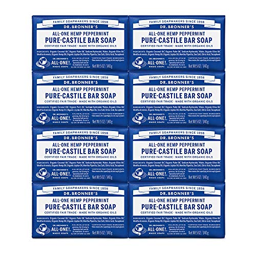(Dr. Bronner's Pure-Castile Bar Soap - Peppermint, 5 oz (8 Pack))