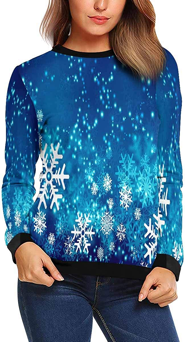 INTERESTPRINT Womens Crew Neck Sweatshirt Abstract Snowflakes Casual Pullover Tops XS-XL