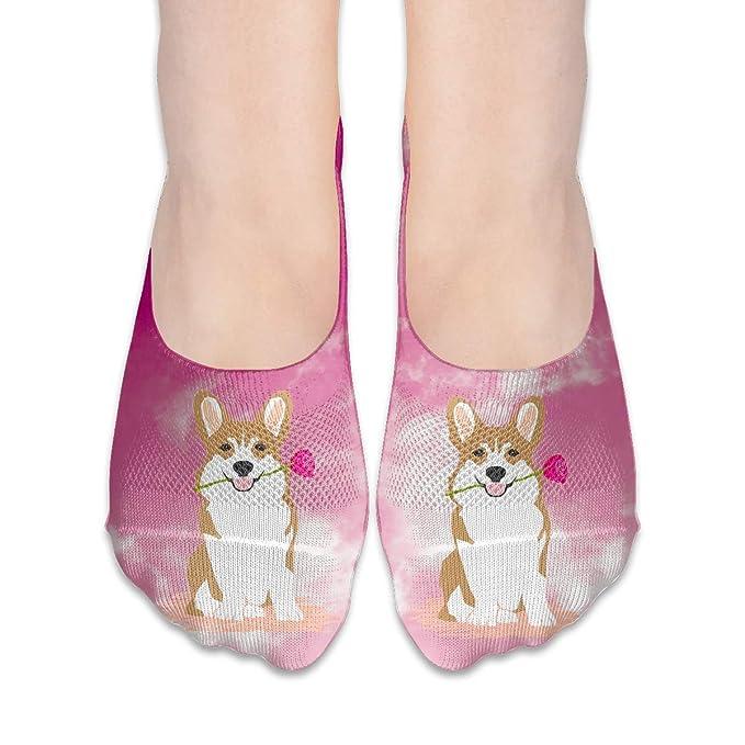 Corgi Dog Rose Women s Non Slip Flat Boat Line No Show Socks at ... daedfee70