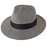 Womens Wide Brim Straw Panama Hat Fedora Summer Beach Sun Hat UPF (navyblack, L (Head Circum 22.8'- 23.6'))
