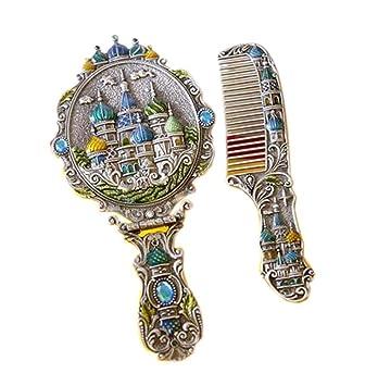 European Retro Style Copper Castle Vintage Metal Mirror and Comb Set,Ancient Tin - European