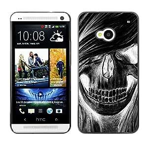 Shell-Star Arte & diseño plástico duro Fundas Cover Cubre Hard Case Cover para HTC One M7 ( Skull Girl Hair Grunge Music Death )