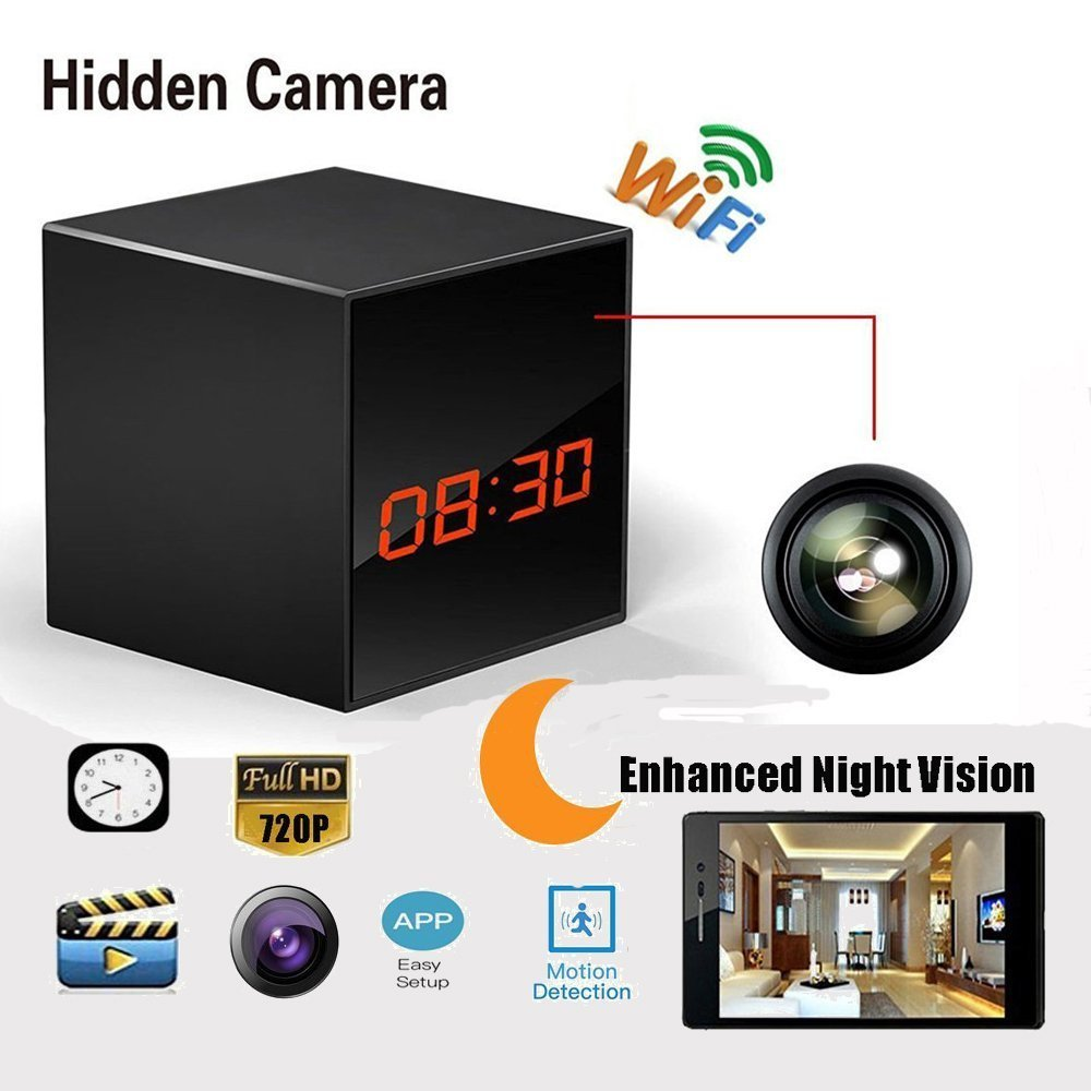 Hidden Spy Camera WiFi Wireless Network Nanny Camera Smart Clock Video Recorder with Motion Detection, Enhanced Night Vision, 12&24 Hour Alarm Clock, Black by Body-Care