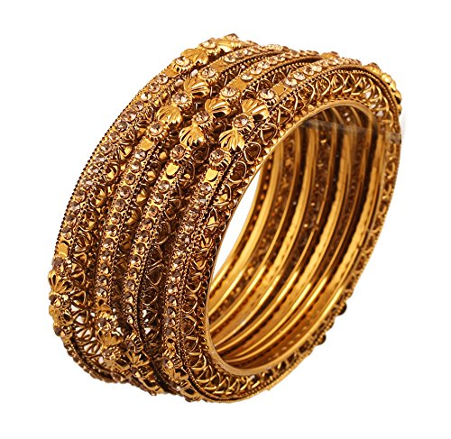 Touchstone Golden Bangle Collection Ethnic Style Filigree Work Yellow Citrine Rhinestone Indian Bollywood Designer Jewelry Metal Bangle Bracelets In Antique Gold Tone For Women. Set Of 4. Bangle Yellow Jewelry Set