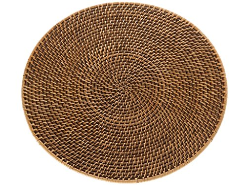 Rattan Honey (Kouboo Laguna Handwoven Round Rattan Placemat, 15 inch Diameter, Set of 2, Honey Brown)